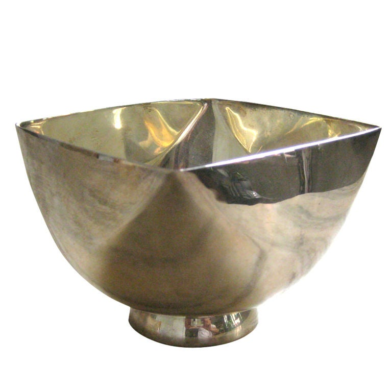 Handsome four-sided bowl on stand. Hallmarked