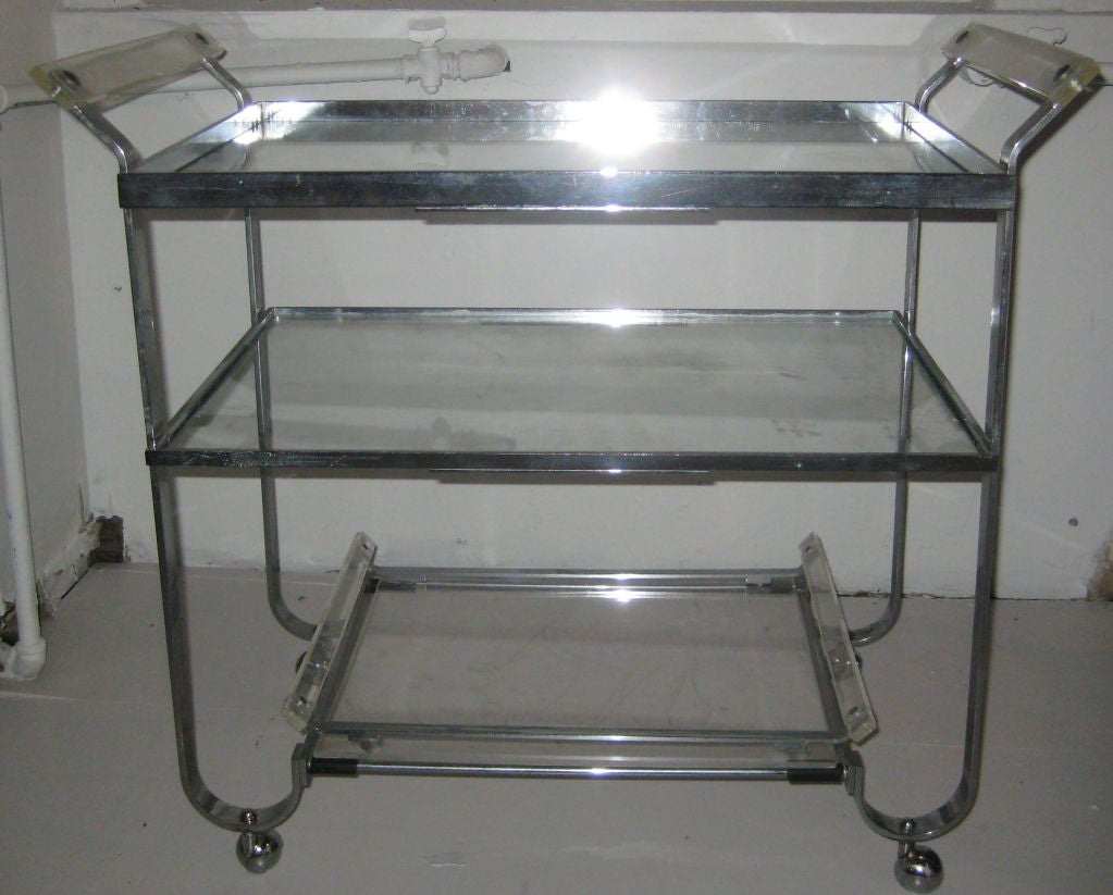 American Nickeled Brass and Lucite Barcart by Treitel Gratz For Sale