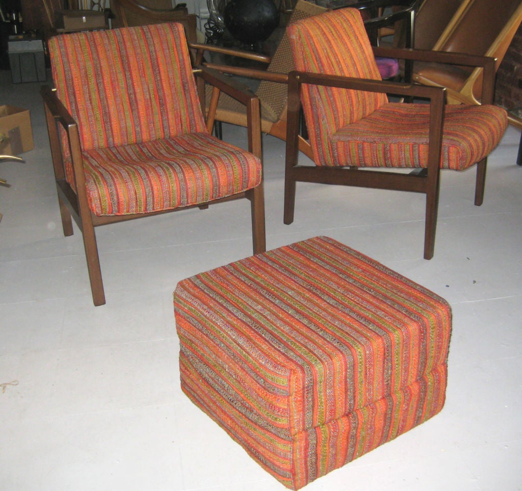 Mint condition rosewood and Mahogany frames in original, totally unworn Jack Lenor Larsen Fabric. Custom upholstered cube was made to function as an ottoman or extra seating.