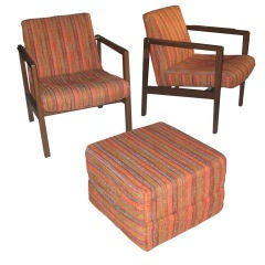 Pair of Edward Wormley for Dunbar Lounge Chairs/Ottoman Cube