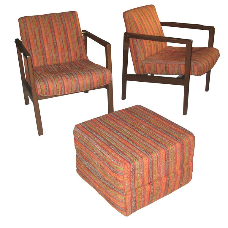 Pair of Edward Wormley for Dunbar Lounge Chairs/Ottoman Cube For Sale