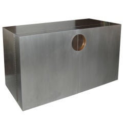 French Brushed Aluminum and Copper Dry Bar/ Sideboard
