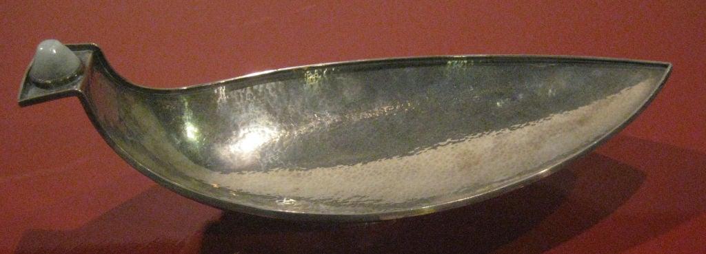 Finnish Reijo Sirkeoja Silver Bowl/Vide Poche with Inset Quartz Stone For Sale