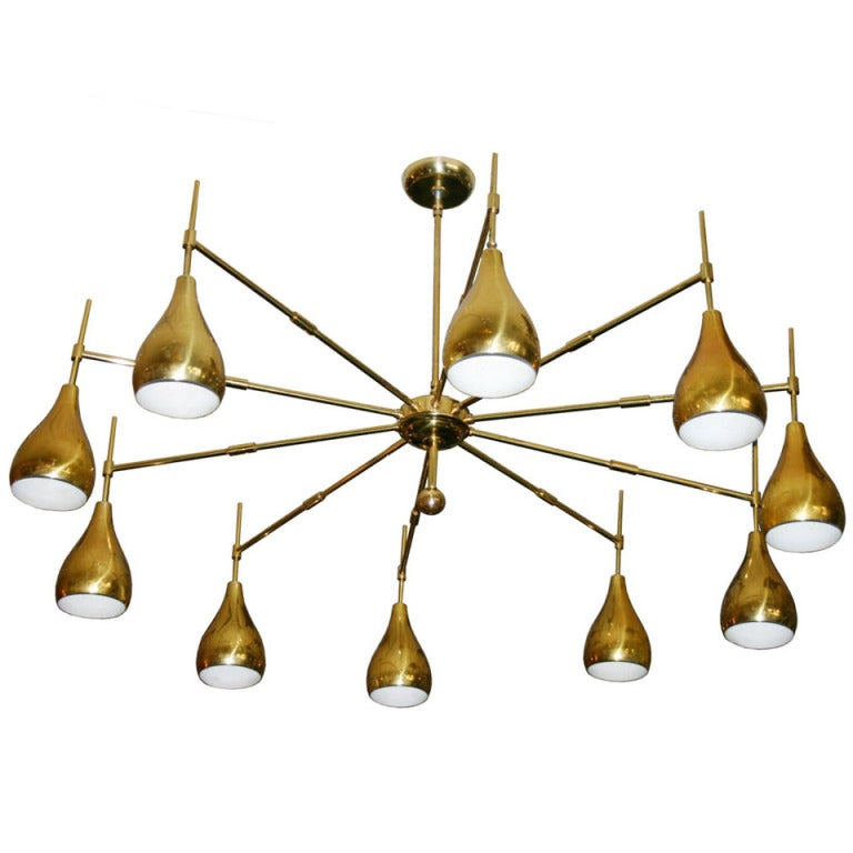 Large Mid Century Brass Chandelier At 1stdibs
