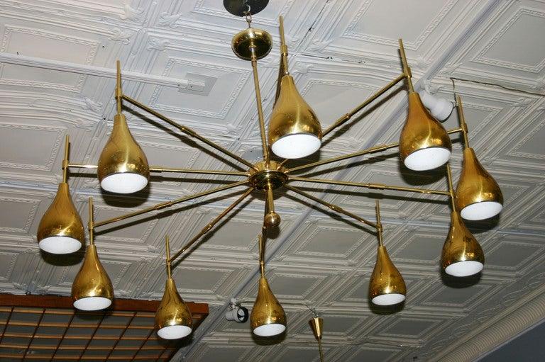 Large Mid-Century Brass Chandelier 2