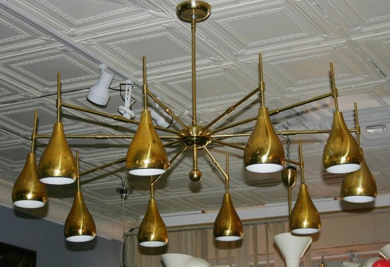 Large Mid-Century Brass Chandelier 3