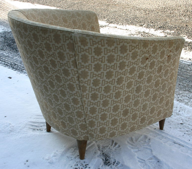 Mid-20th Century Italian Barrelback Armchair For Sale