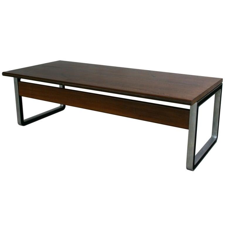 Magnificent Double Sized Dark Walnut Desk by Osvaldo Borsani for Tecno