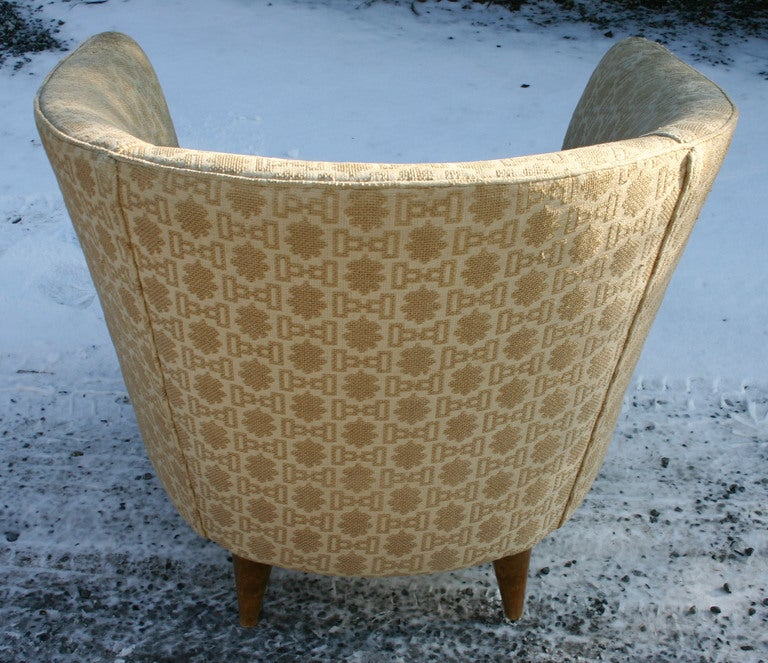 Upholstery Italian Barrelback Armchair For Sale