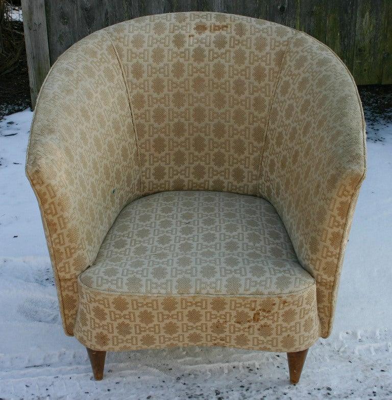 Mid-Century Modern Italian Barrelback Armchair For Sale