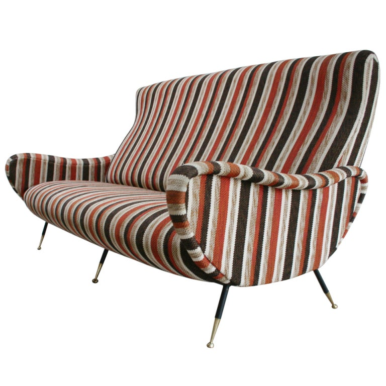 Italian Striped Sofa At 1stdibs