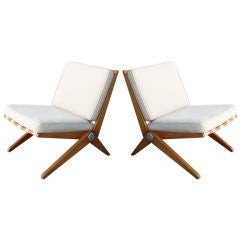 Pair Charlotte Perriand Le Corbusier Scissor Chairs