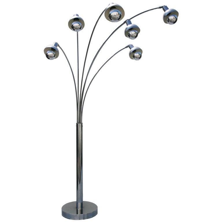 Italian 6 head chrome floor lamp at 1stdibs for 6 head gooseneck floor lamp