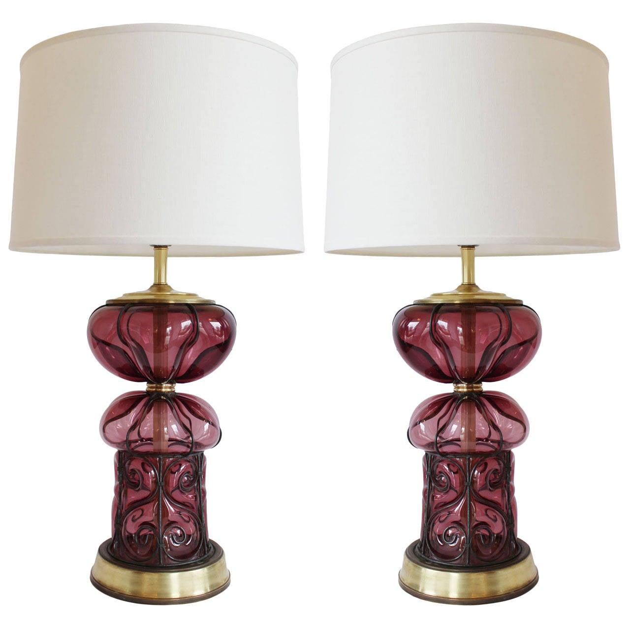 Pair Of Italian Glass Lamps At 1stdibs