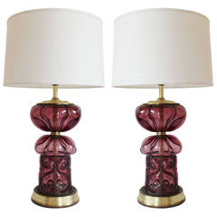 Pair of Italian Glass Lamps