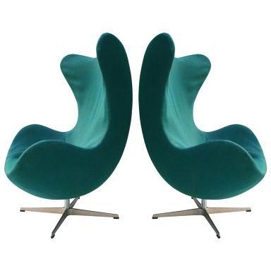 arne jacobsen egg chairs at 1stdibs. Black Bedroom Furniture Sets. Home Design Ideas