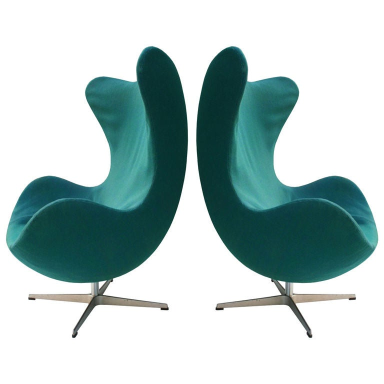 arne jacobsen egg chairs at 1stdibs. Black Bedroom Furniture Sets. Home Design Ideas