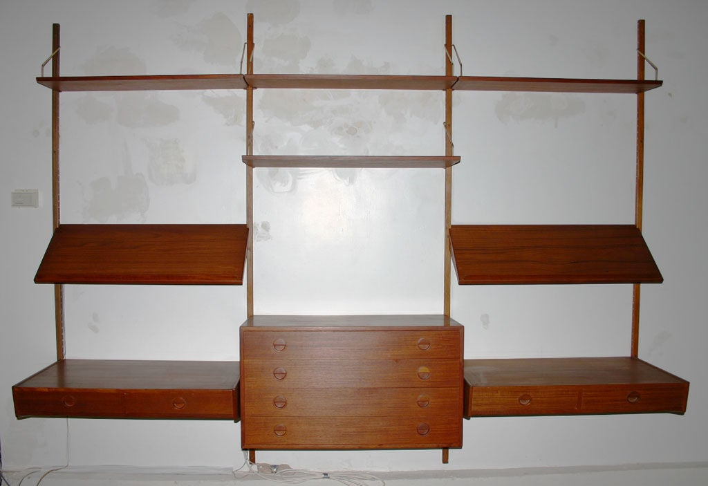 Mid 20th Century Danish Double Desk Wall Unit For