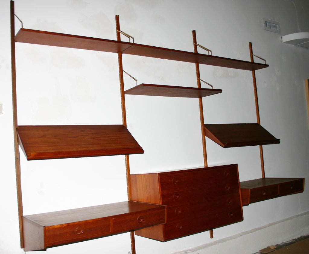 Danish Double Desk Wall Unit At 1stdibs