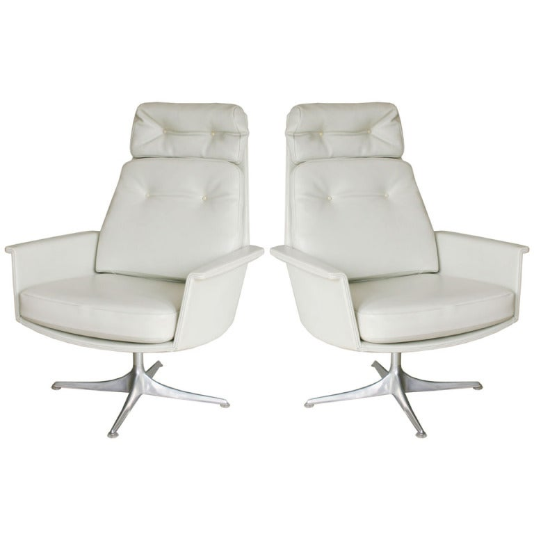 Pair Italian Swivel Chairs At 1stdibs