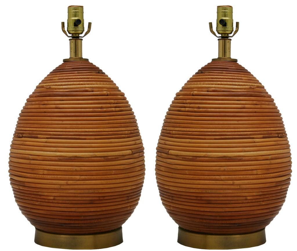 Pair Large Rattan Lamps at 1stdibs