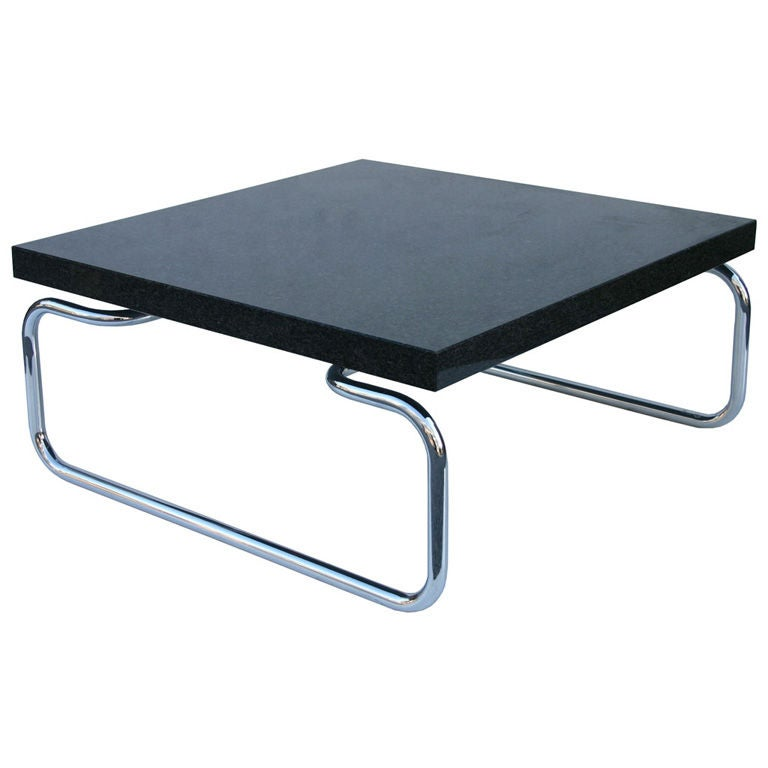 Thick Square Black Stone Top Coffee Table With Short Black: Cassina Coffee Table At 1stdibs