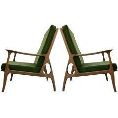 Pair Italian Wood Frame Armchairs