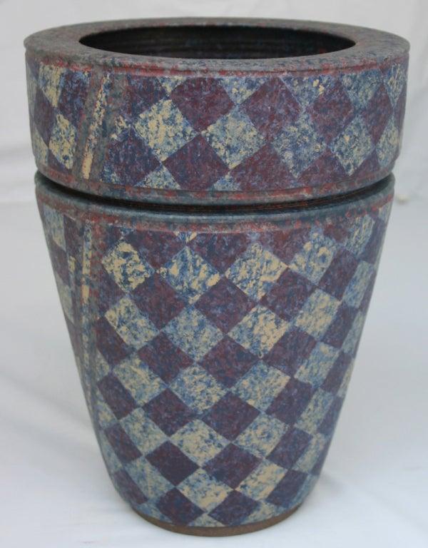 Stoneware double vase with matte glaze by ceramicist Jane Arnold.
