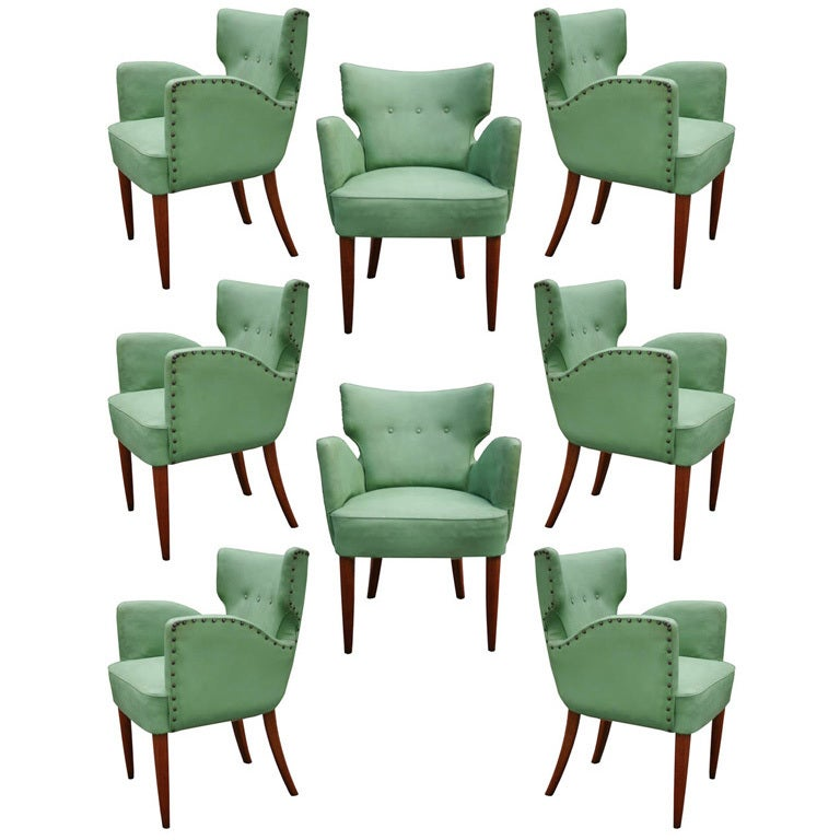 Set Of Eight Wingback Italian Dining Chairs At 1stdibs