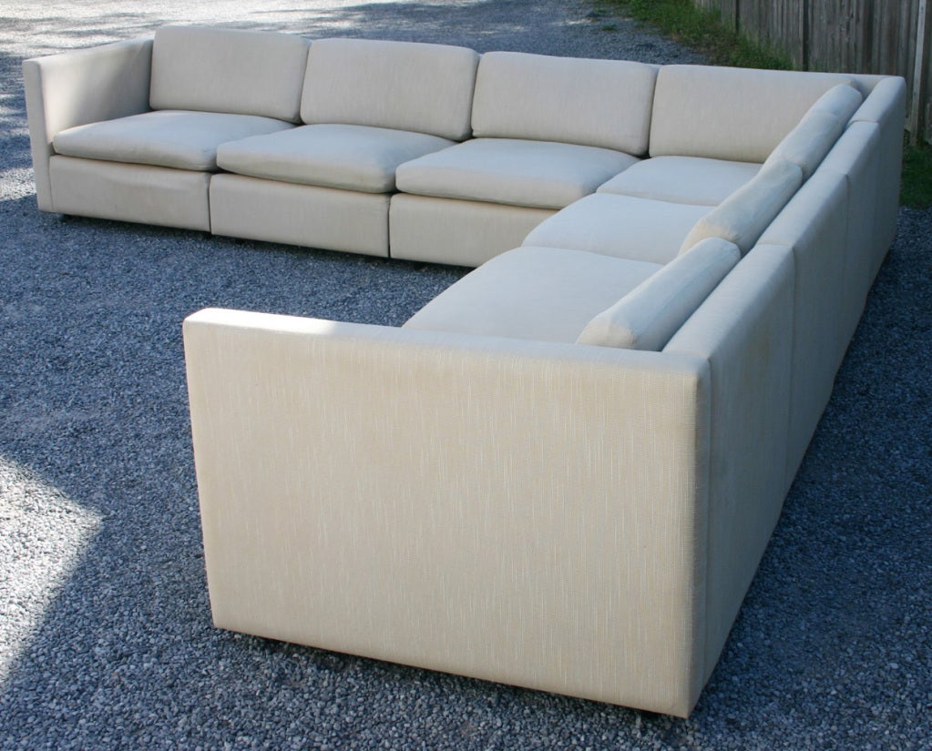 Classic floating sectional sofa by Charles Pfister for Knoll, 1971 -- This one from the late 90's Light wear to arms -- we have a remnant of original Knoll fabric to replace. Otherwise great shape. 