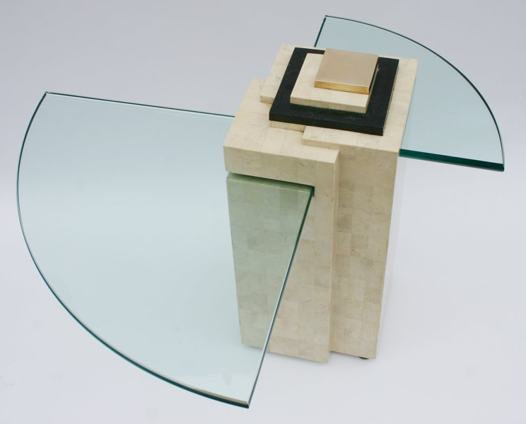 Maitland Smith reticulated bone two-tier side/occasional table with glass plateaus and brass detail.