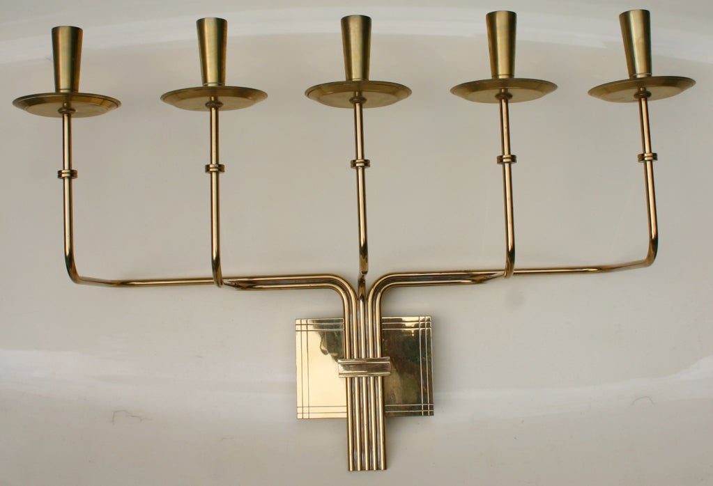 Candelabra Wall Lights : Parzinger Brass Candelabra Sconce For Sale at 1stdibs