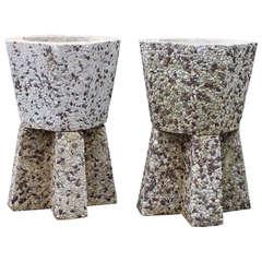 Pair Stone Mosaic Planters