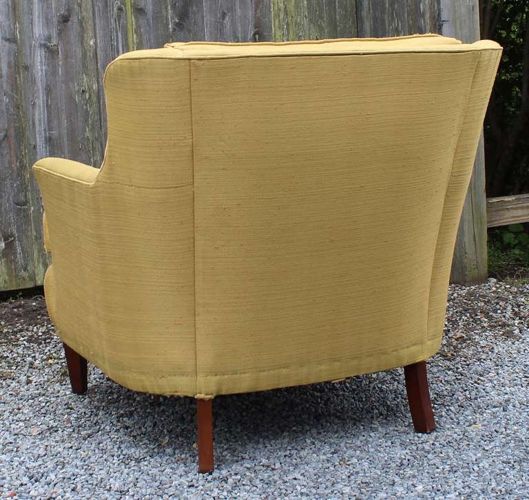 American Pair Modern Regency Armchairs with Ottoman For Sale