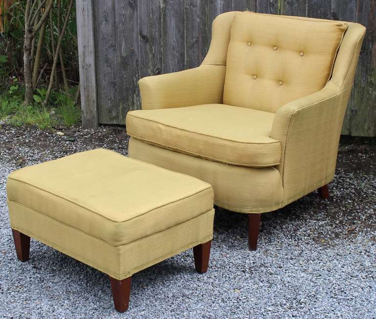 Mid-Century Modern Pair Modern Regency Armchairs with Ottoman For Sale