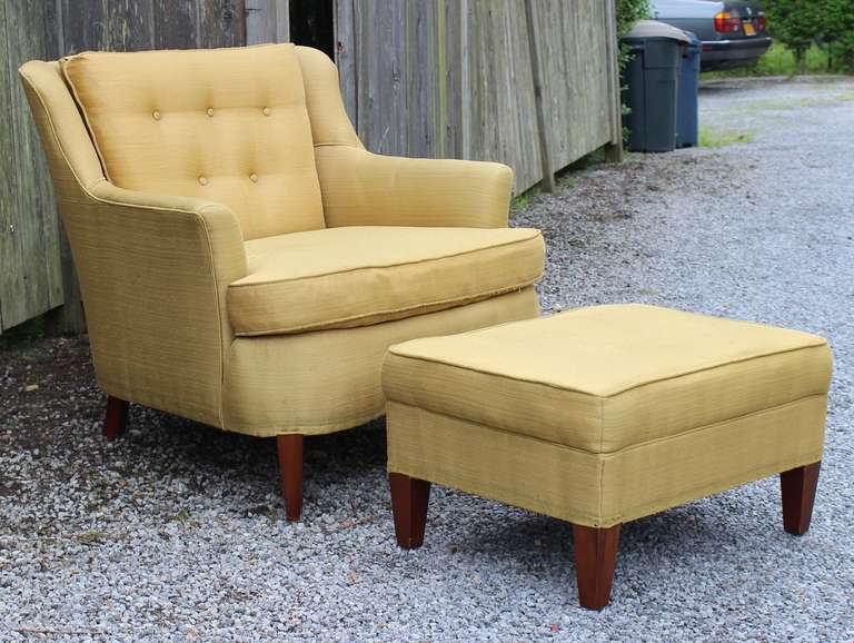 Mid-20th Century Pair Modern Regency Armchairs with Ottoman For Sale