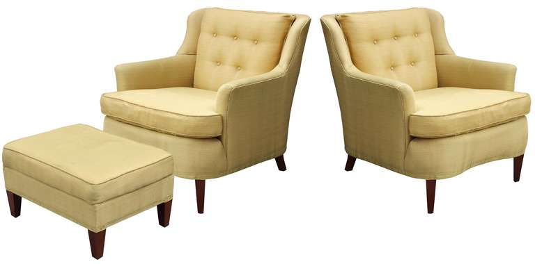 Pair modern regency style armchairs with matching ottoman in vintage original upholstery.  ottoman dimensions: 25