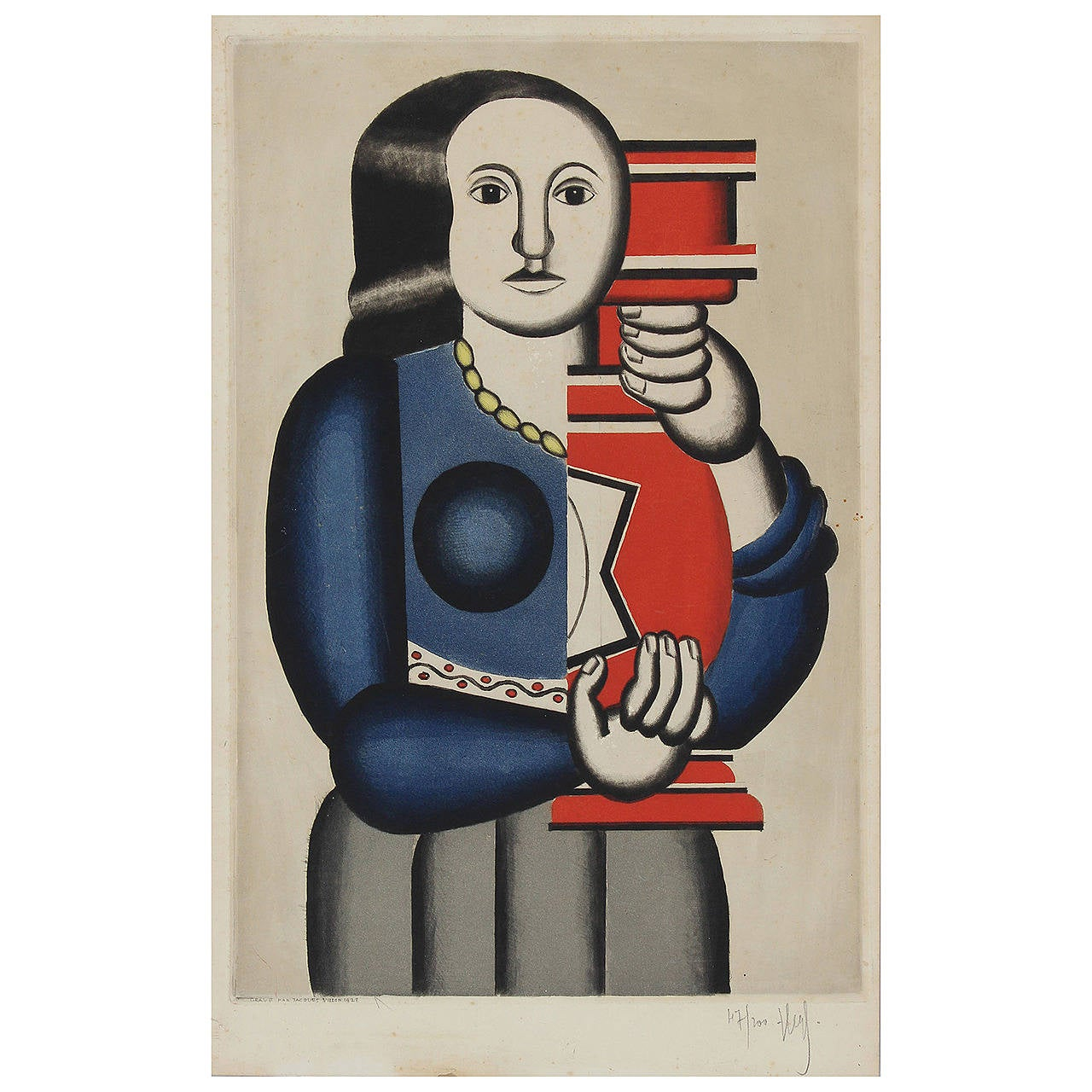 """Jacques Villon Print after Fernand Leger, """"Femme Tenant un Vase"""""""