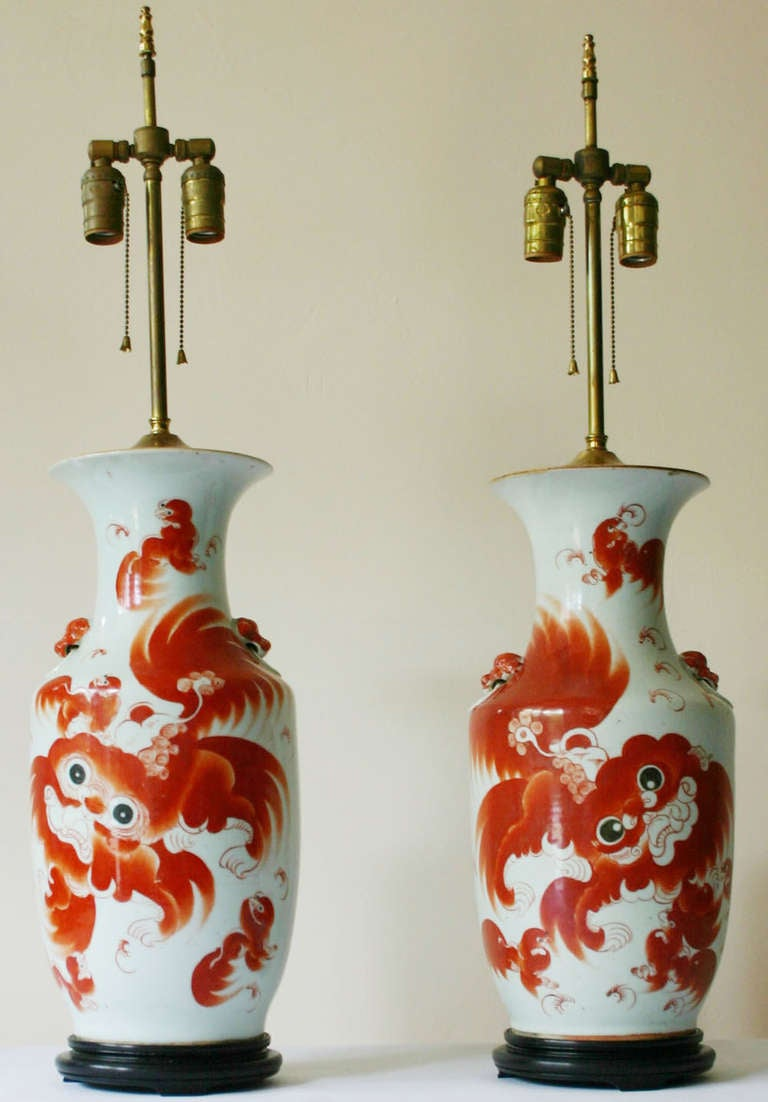 Large Pair 19th Century Porcelain Urn Foo Dog Motif Lamps    Each Unique,  With