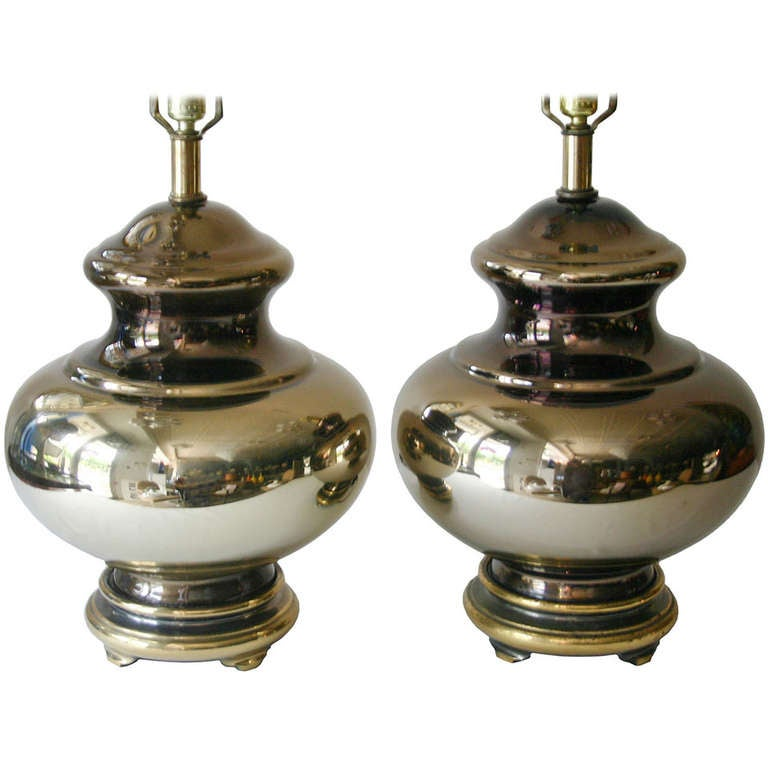 pair mercury glass lamps for sale at 1stdibs. Black Bedroom Furniture Sets. Home Design Ideas
