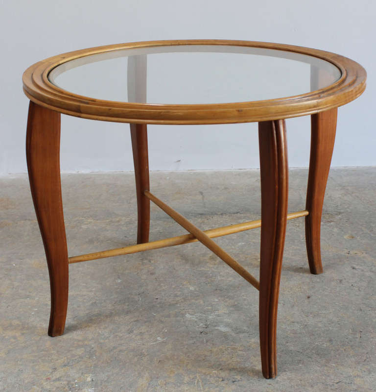 Charming Borsani style wood frame Italian side or cocktail table with glass insert top.