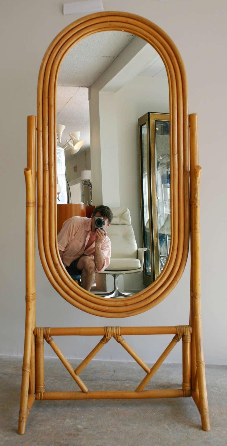 Rattan Cheval Mirror At 1stdibs