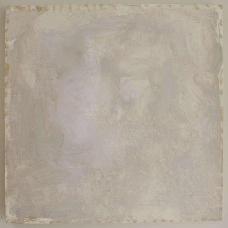Untitled acrylic painting on primed wood, in shades and tones of grays and violets, by William Schefferine, 2013.