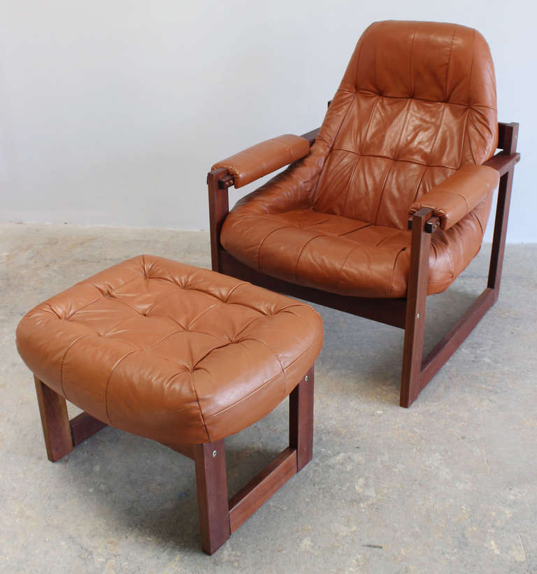 Delicieux Classic Teak Frame Soft Leather Chair And Ottoman Designed By Percival Lafer .