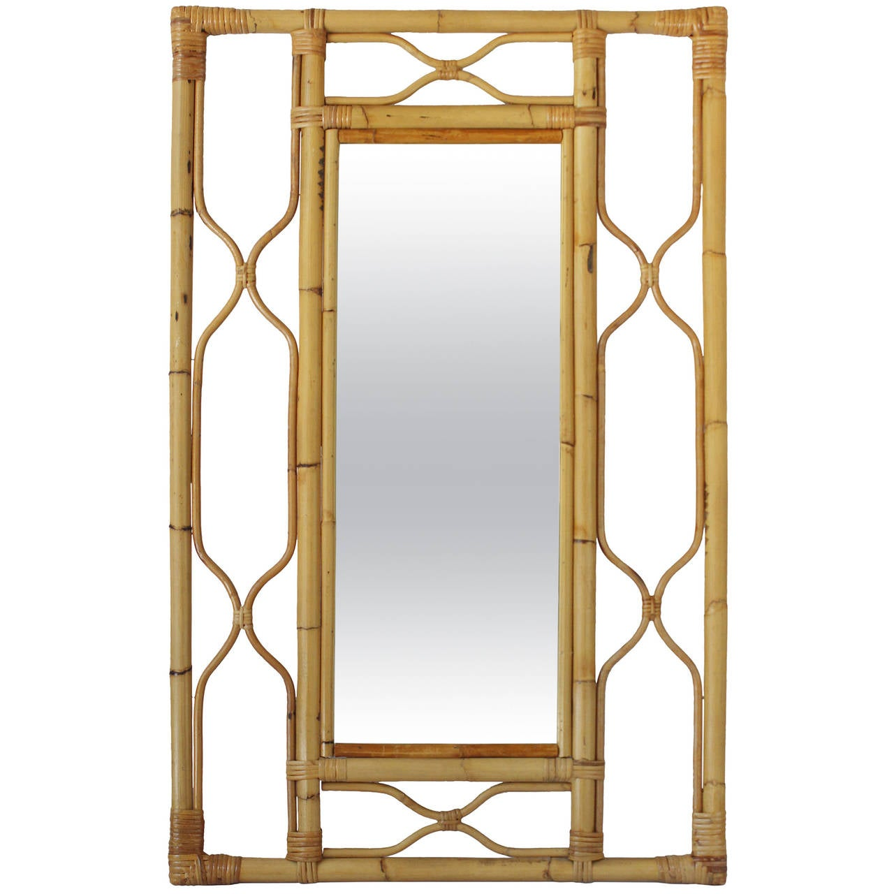 Bamboo frame mirror at 1stdibs for Mirror with mirror border