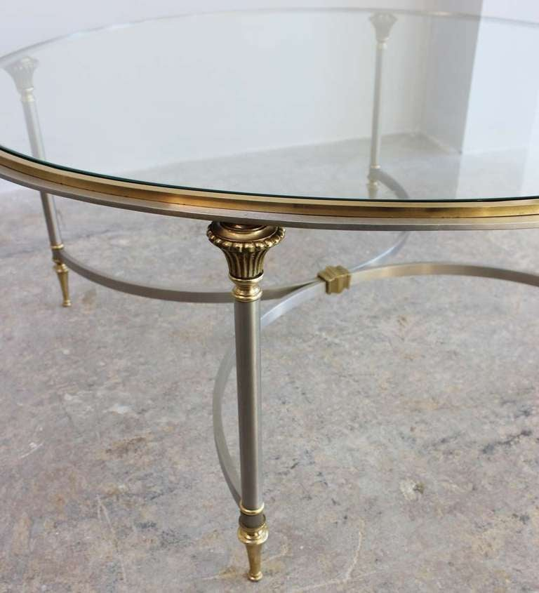 Artimeta Attributed Square Metal And Glass Coffee Table At: Regency Dual Metal Coffee Table For Sale At 1stdibs