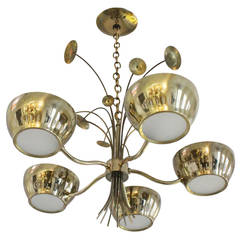 Lightolier Brass Chandelier