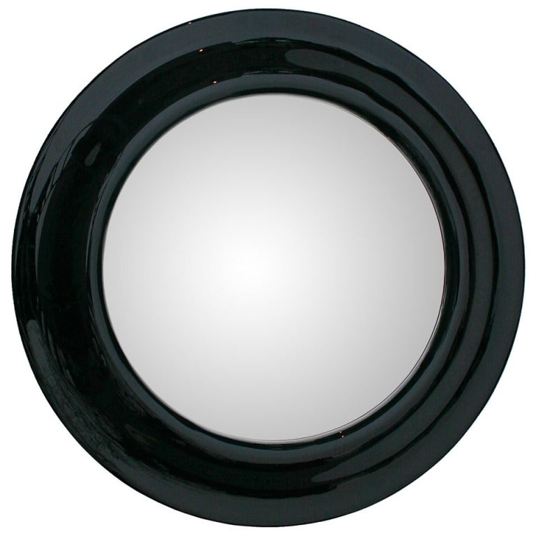Gloss black 45 round mirror at 1stdibs for Round black wall mirror