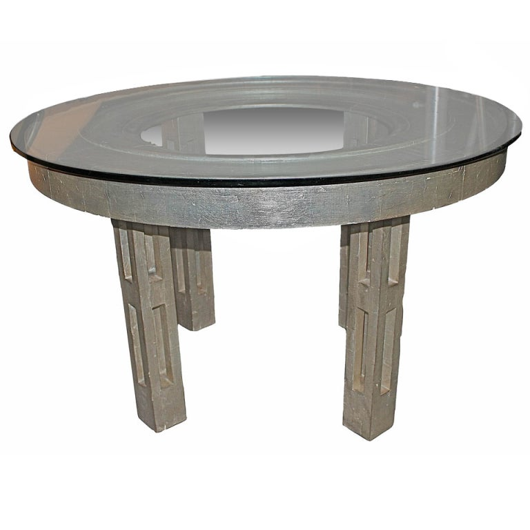 A Round Silver Leaf Table By James Mont New York City C