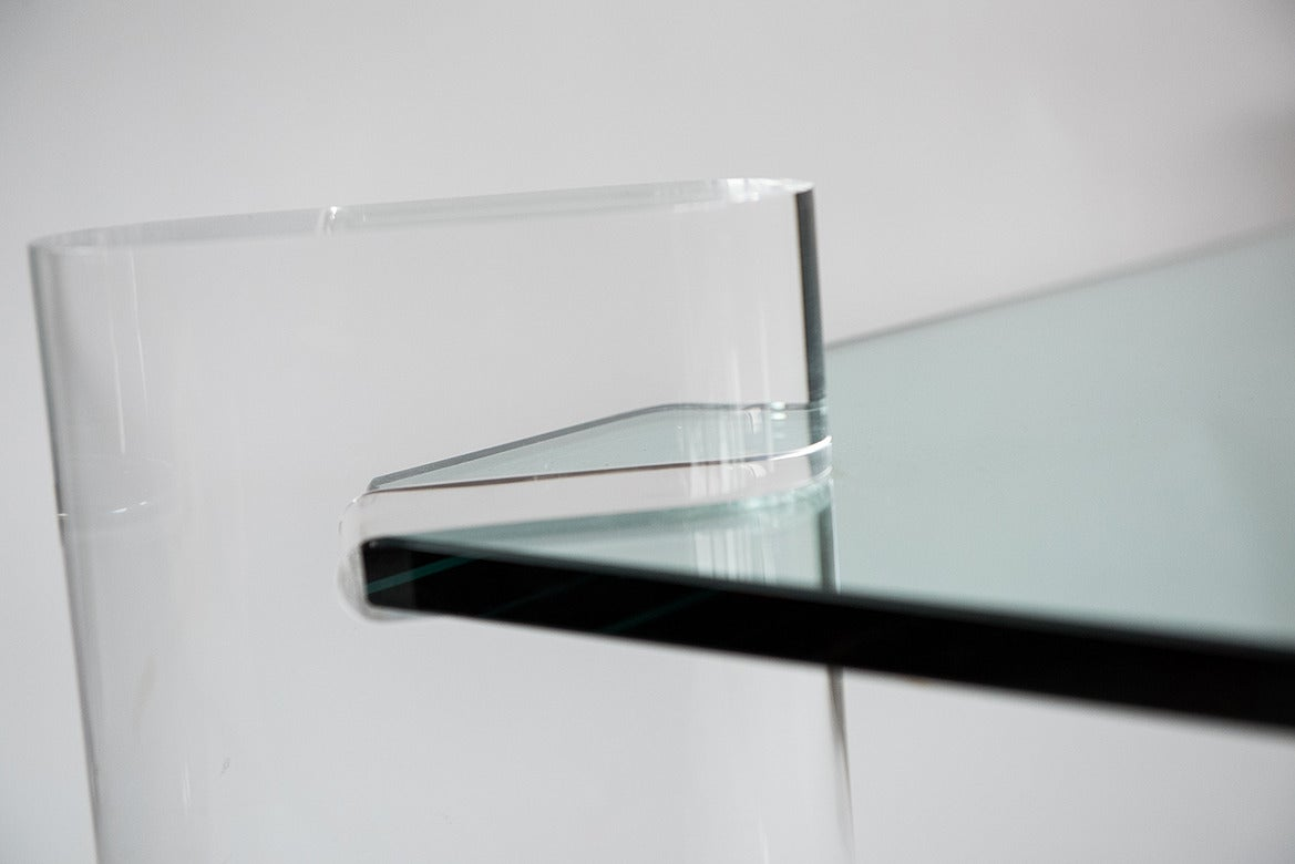 Karl Springer Glass and Lucite Low Table, Usa, circa 1970s 2